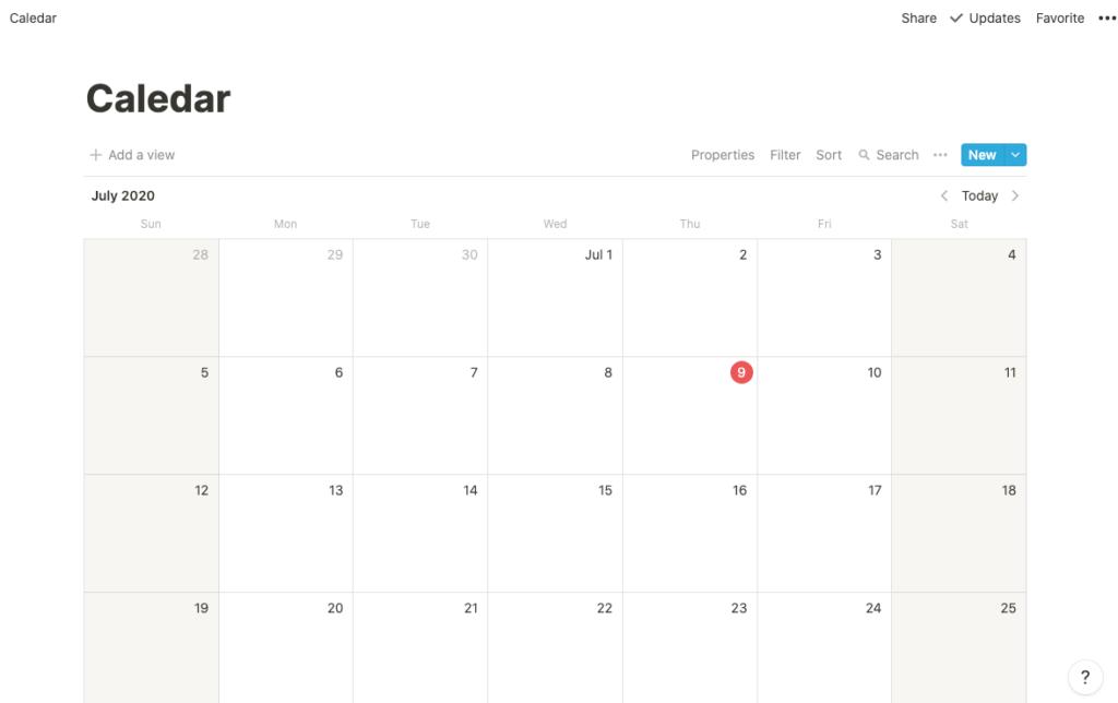 ノーションのカレンダーレイアウトの説明画像